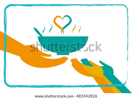 Shutterstock Giving Food to the Hungry concept with a heart formation from hot soup. Editable Clip Art.