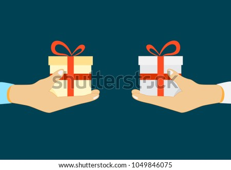 Giving, receiving surprise. Vector illustration flat design. Give gift.