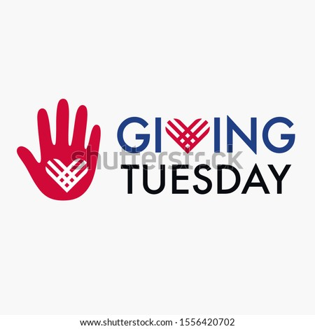 Giving Tuesday, global day of charitable giving. Helping hand with heart shape. Charity campaign banner design, vector illustration.