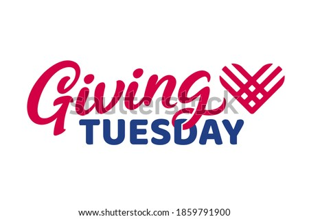 Giving Tuesday, global day of charitable giving. Text lettering with hashtag heart. Charity campaign banner design, vector illustration. Сток-фото ©