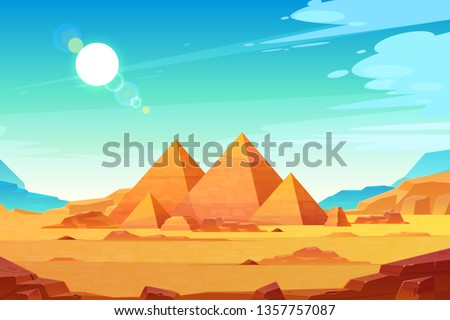 Giza plateau landscape with egyptian pharaohs pyramids complex illuminated with bright sunlight cartoon vector background. Ancient historical, famous touristic attractions in african desert