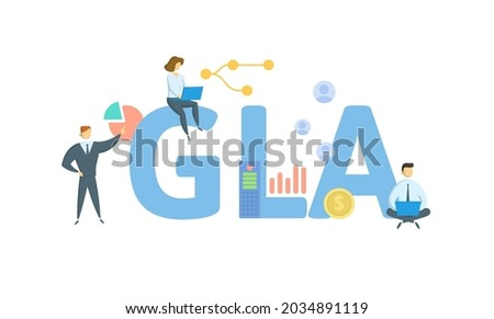 GLA, Gross Leaseable Area. Concept with keyword, people and icons. Flat vector illustration. Isolated on white. Photo stock ©
