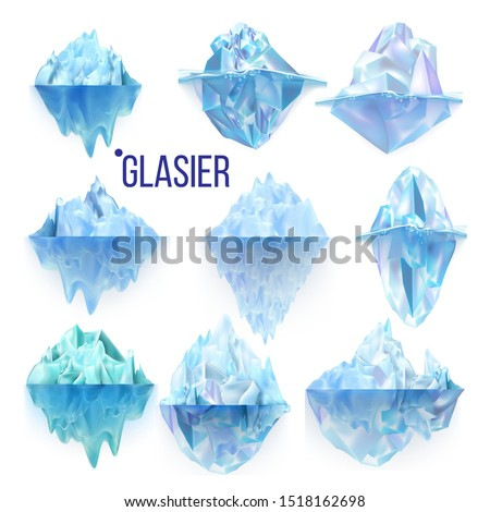 Glacier Frozen Rock And Iceberg Collection Vector. Different Form And Size Frosty Glacier Floating On Water Waves. Broking And Dangerous For World Climate System Realistic 3d Illustrations Foto stock ©