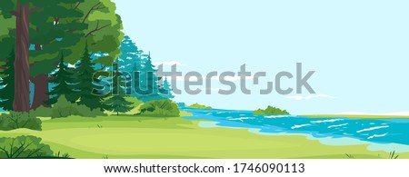 Glade by the river and forest nature landscape, scenic place for outdoor recreation, place for camping on the river bank, small river flows along the forest