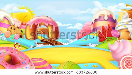 Glade in a candy land. Sweet landscape, 3d vector panorama.