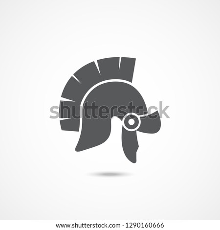 Gladiator helmet icon on white background