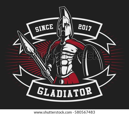 gladiator logo with spear and