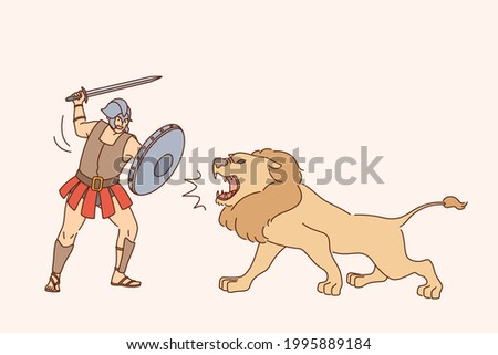 gladiator with lion fight