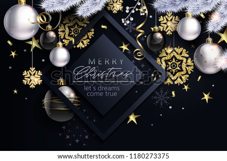 Glam Christmas cadr with white and black balls