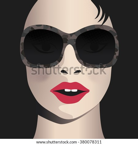 Glamor girl wears sunglasses. Celebrity