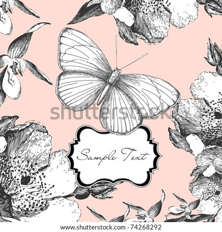 glamorous card with a butterfly