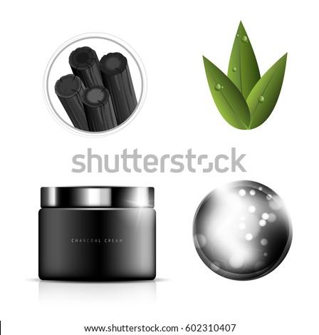 glamorous charcoal cosmetic ads