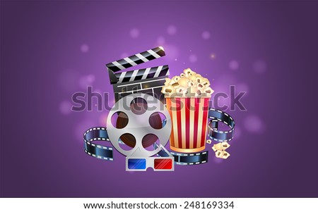 Glamorous cinema poster with popcorn and 3d glasses
