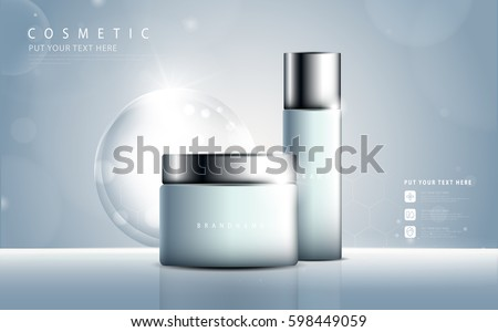 Glamorous cosmetic ads, facial treatment for sale. blue spray bottle. vector design. #598449059