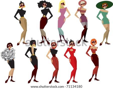 glamorous fashion  girls vector set