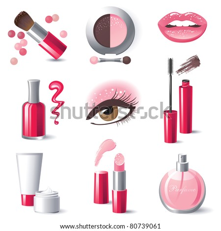 glamorous make up icons set