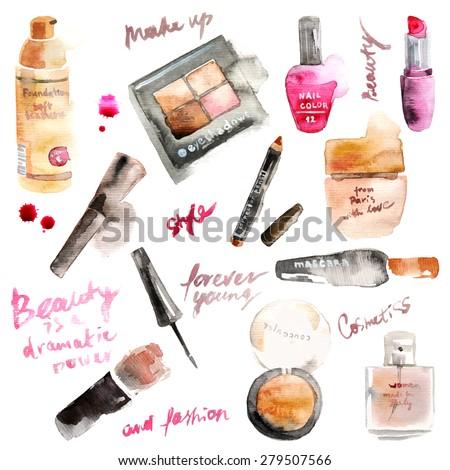 glamorous make up watercolor
