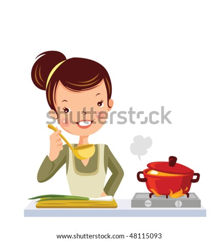 glamour girl in kitchen - stock vector