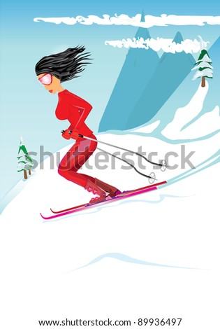Glamour girl skiing on a slope, winter season sports vector illustration. Beauty young women with black shiny hair on skis.