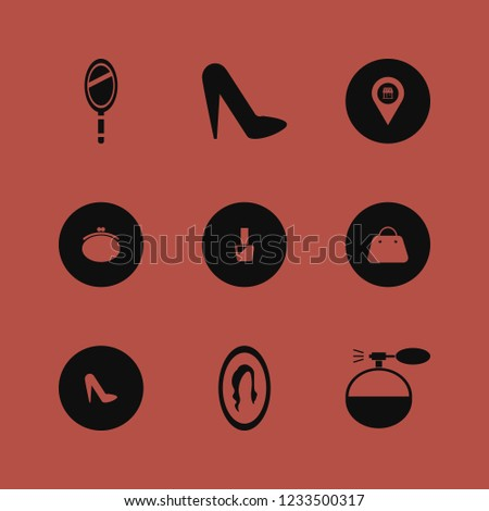 glamour icon. glamour vector icons set cologne spray, women shoes, female mirror and hand mirror