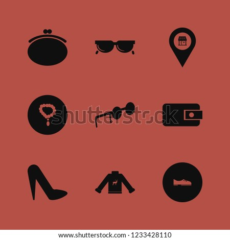 glamour icon. glamour vector icons set sweater with deer, store location, sunglasses and women shoes