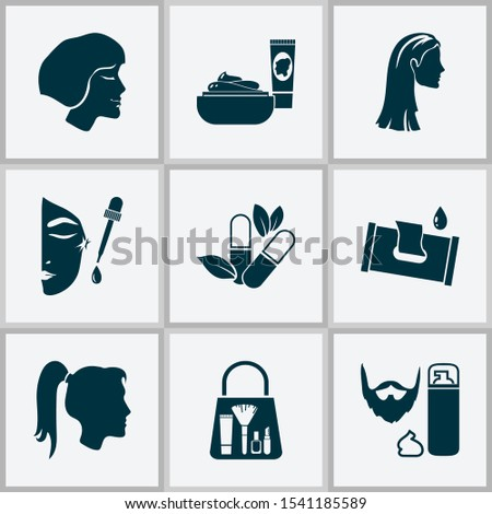 Glamour icons set with face oil, herbal pills, wet wipes and other merchandise elements. Isolated vector illustration glamour icons.