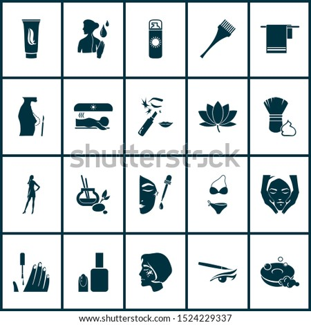 Glamour icons set with solarium, model girl, face oil and other shaver elements. Isolated vector illustration glamour icons.