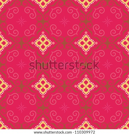 Glamour oriental pattern.  Colorful decorative seamless, vector illustration - stock vector