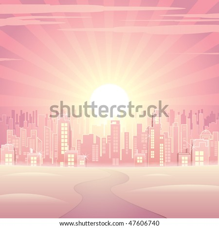 Glamour pink cityscape -vector image