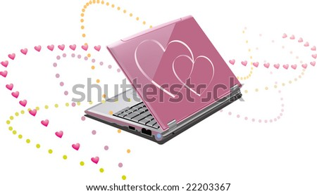 Glamour professional illustration of the pink laptop