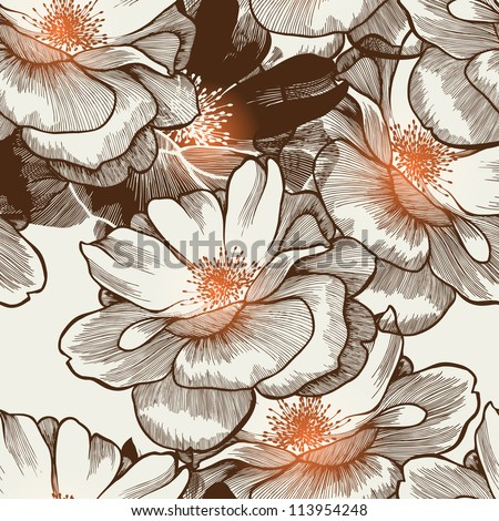Glamour seamless wallpaper with blooming roses Vector.