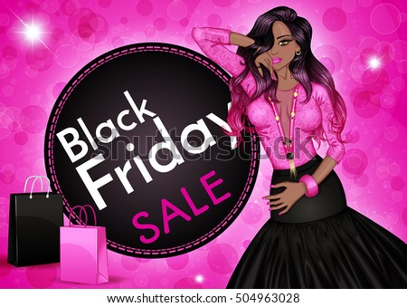 3ec8206c2b Glamour vector illustration of a fashion african american woman and shopping  bags on a pink background · Black Friday sale ...