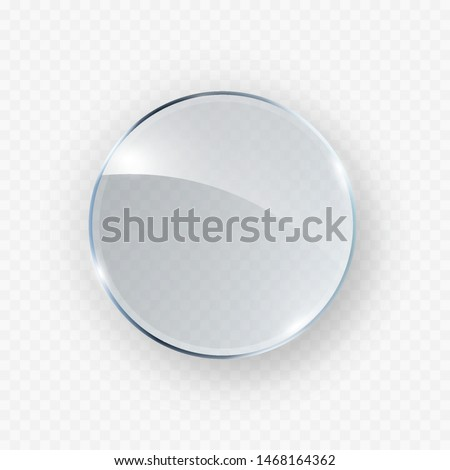 Glass, acrylic or plastic circle badge isolated on transparent background. Reflection 3d button, glare mirror. Vector glossy round glass icon.
