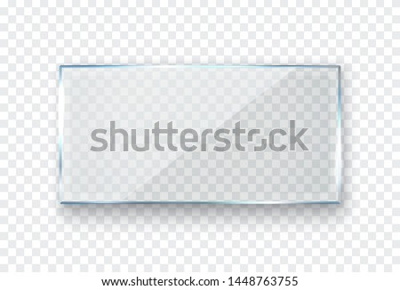 Glass, acrylic or plastic rectangle badge isolated on transparent background. Reflection 3d plate, clear window. Vector glare flat glass frame.