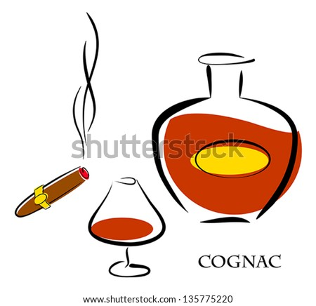 Glass and bottle of luxury cognac with best tobacco cigar for high quality lifestyle. Vector eps10 illustration. Raster file included in portfolio