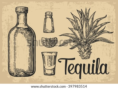glass and bottle of tequila....