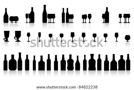 glass and bottle set, vector