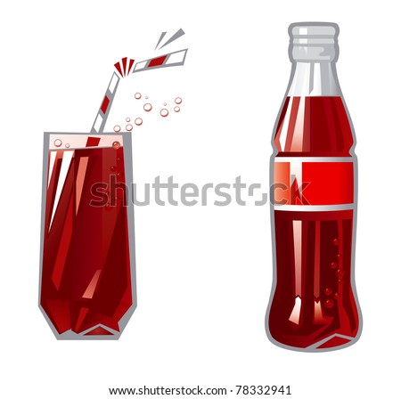 Glass and Bottle. Vector Illustration of glass and Bottle with dark red beverage
