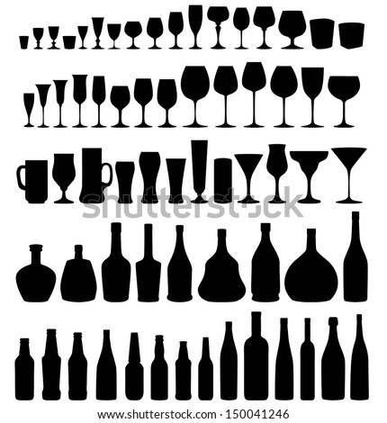 Glass and bottle vector silhouette collection. Set of different drinks and bottles isolated on white  background.