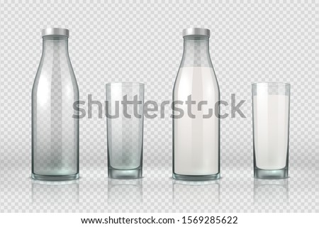 Glass and bottle with milk. Realistic empty, half full and full glass bottle, 3D mockup milk product. Vector set milky beverage in container on transparent background