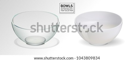 Glass and ceramic bowl set vector illustration. Realistik bowl on transparent backgraund. 3d