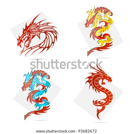 glass and magic asia dragons set isolated