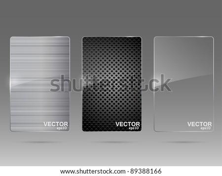 Glass and metal framework set. Vector illustration.