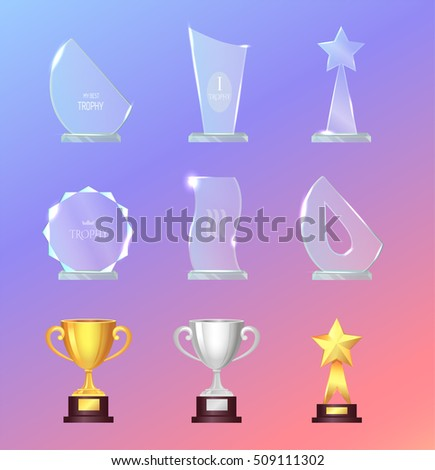 glass and metal sports trophies