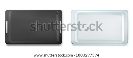 Glass and metal trays for baking top view, empty tin and glassware clean pans, isolated forms. Kitchen utensil for oven, refractory dishes for raw dough, bake cooking, Realistic 3d vector illustration Foto stock ©