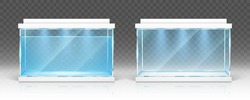 Glass aquarium with water and empty terrarium with white lids and lighting isolated on transparent background. Vector realistic mockup of clear rectangular tank for fish, aquatic pet and other animals