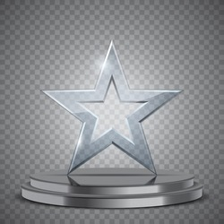 Glass award in the form of star on podium, vector trophy illustration