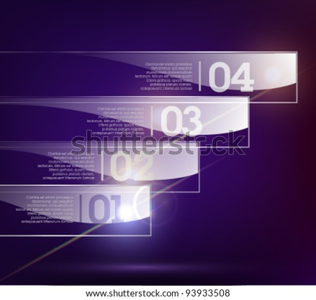 Glass background. Transparent glass plates. Vector illustration. Eps10. Suitable for infographics, graphic design or web design. Dark background.