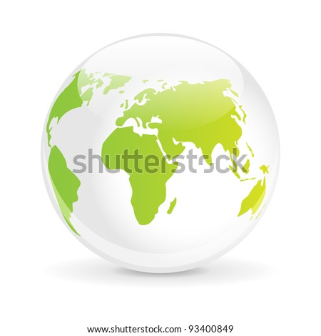 Glass ball with a map of the world