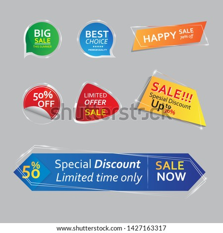 Glass banner promotional badges and sale tags. price tag sale. vector price. tag sale